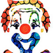 Clownin Around - Funny Circus Clown Art Art Print by Sharon Cummings