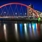 Clyde Arc Glasgow At Night Art Print