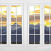 Co Mountain Gold View Out An Old White Double 16 Pane White Window Art Print