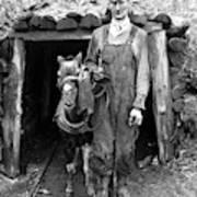 Coal Miner & Mule 1940 Art Print