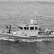 Coast Guard On Patrol In Black And White Art Print