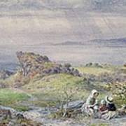 Coast Scene With Children In The Foreground, 19th Century Art Print