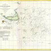 Coast Survey Nautical Chart Or Map Of Nantucket Massachusetts Art Print