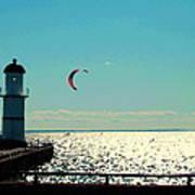 Coast To Coast Sea To Sky Flies Curiosity Crescent Kite Night Scenes On The Canal Carole Spandau Art Print