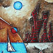 Coastal Abstract Cityscape Art Original City Painting Morning Retreat By Madart Art Print