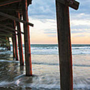 Coastal Sunset At Oceanana Fishing Pier Art Print