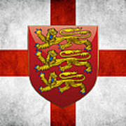 Coat Of Arms And Flag Of England Art Print