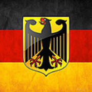 Coat Of Arms And Flag Of Germany Art Print