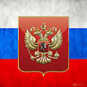 Coat Of Arms And Flag Of Russia Art Print