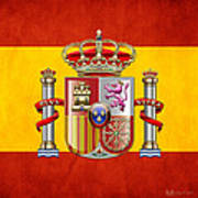 Coat Of Arms And Flag Of Spain Art Print