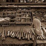 Cobblers Tools Bw Art Print