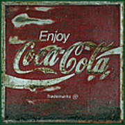 Coca Cola Green Grunge Sign Art Print