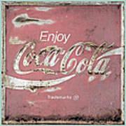 Coca Cola Pastel Grunge Sign Art Print