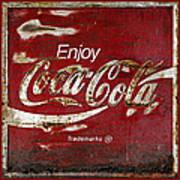 Coca Cola Red Grunge Sign Art Print