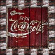 Coca Cola Sign With Little Cokes Border Art Print