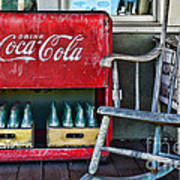 Coca Cola Vintage Cooler And Rocking Chair Art Print