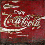 Coca Cola Wood Grunge Sign Art Print