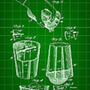 Cocktail Mixer And Strainer Patent 1902 - Green Art Print