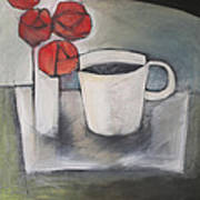 Coffee And Roses Art Print