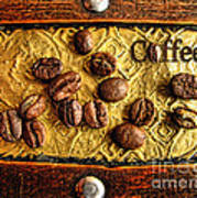 Coffee Beans And Wood Art Print