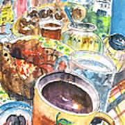 Coffee Break In Grakari In Crete Art Print