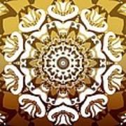 Coffee Flowers 10 Calypso Ornate Medallion Art Print