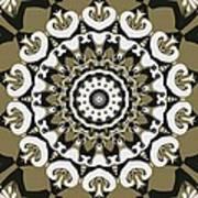 Coffee Flowers 10 Olive Ornate Medallion Art Print