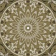 Coffee Flowers 11 Olive Ornate Medallion Art Print