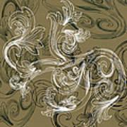 Coffee Flowers 2 Olive Art Print