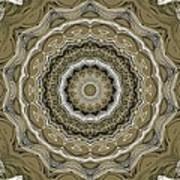 Coffee Flowers 2 Ornate Medallion Olive Art Print
