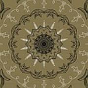 Coffee Flowers 3 Olive Ornate Medallion Art Print