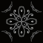 Coffee Flowers 4 Bw Ornate Medallion Art Print