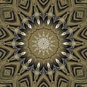 Coffee Flowers 4 Olive Ornate Medallion Art Print