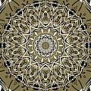 Coffee Flowers 7 Olive Ornate Medallion Art Print