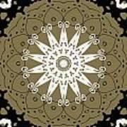 Coffee Flowers 9 Olive Ornate Medallion Art Print