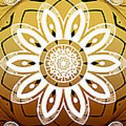 Coffee Flowers Medallion Calypso Triptych 2  Art Print