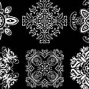 Coffee Flowers Ornate Medallions Bw 6 Peice Collage Art Print