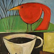 coffee with red bird II Art Print