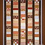 Coin Quilt -  Painting - Brown And White Patches Art Print