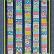 Coin Quilt -  Painting - Multicolors - Borders Art Print