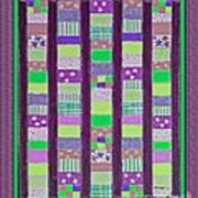 Coin Quilt - Quilt Painting - Purple And Green Patches Art Print