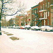 Cold Day In Montreal Pointe St Charles Art Winter Cityscene Painting After Big Snowfall Psc Cspandau Art Print