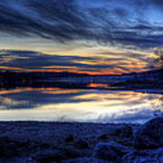 Cold Winter Sunset On The Lake Art Print