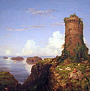 Cole's Italian Coast Scene With Ruined Tower Art Print