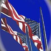 Collage Half Mast Flag Honoring President Ronald Reagan Number 2 Casa Grande Az  2004-2013 Vignetted Art Print