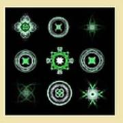 Collage Of Green Fractals Art Print