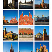 Collage - Red Square In The Morning Art Print