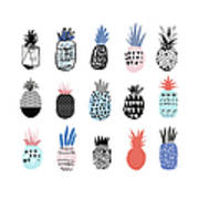 Collection Of Cute Pineapples With Art Print