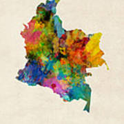 Colombia Watercolor Map Art Print