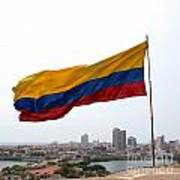 Colombian Flag Over Cartagena Art Print